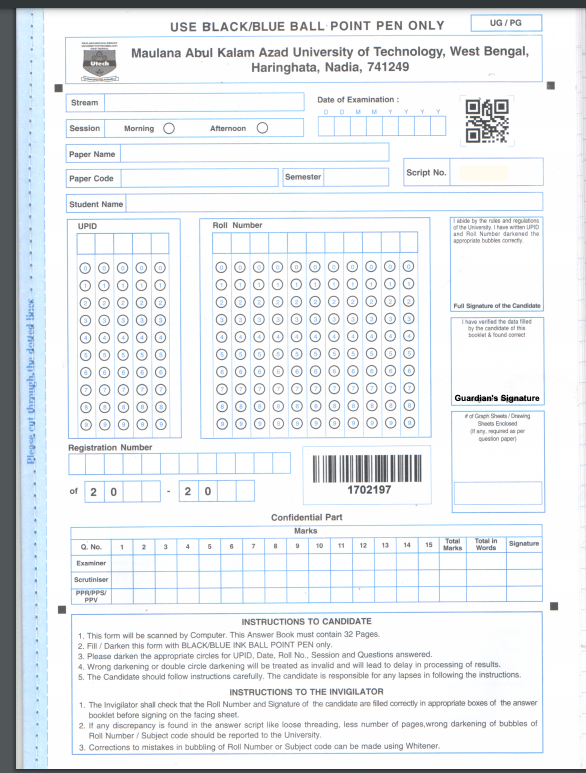 makautexam.net official answer script cover page - download pdf