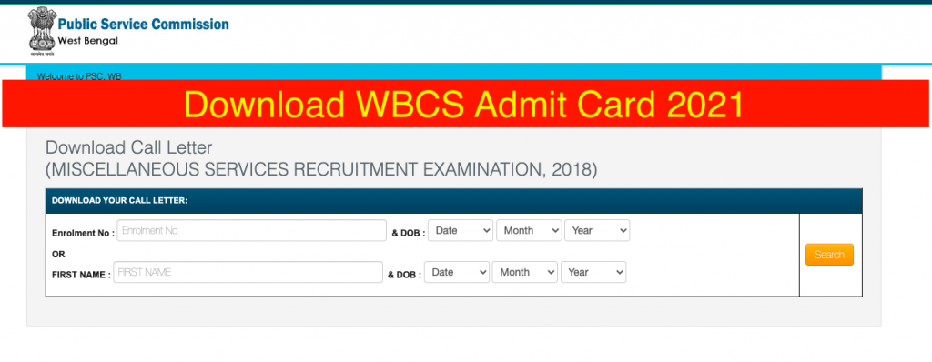 WBCS Admit Card 2021 download now!!