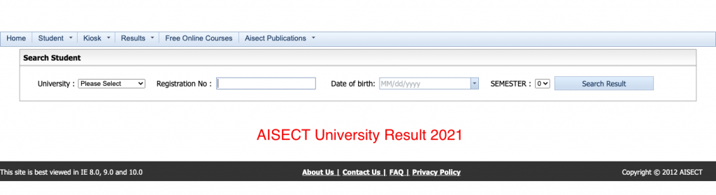 Check AISECT University Result 2021