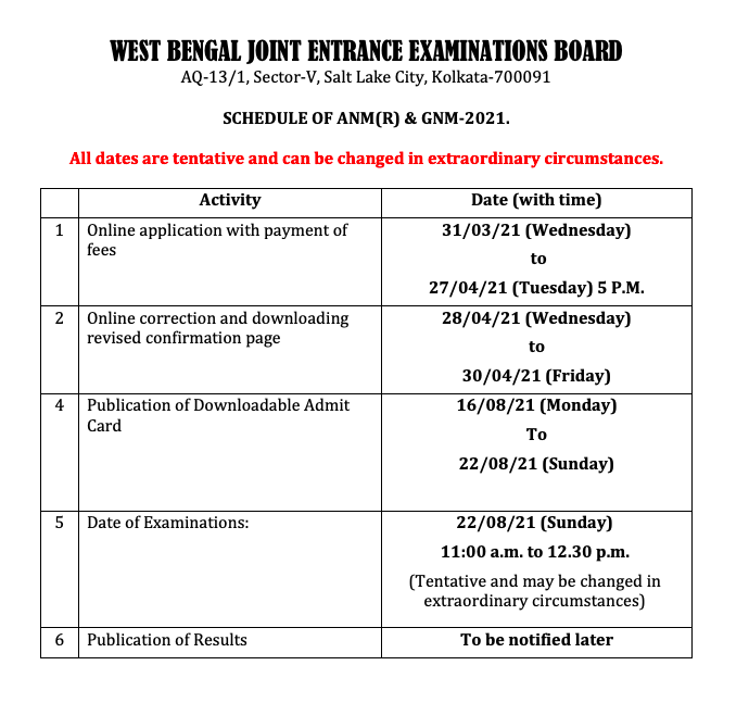 wbjee gnm anm nursing exam date 2021 - detailed time table for admit card downloading