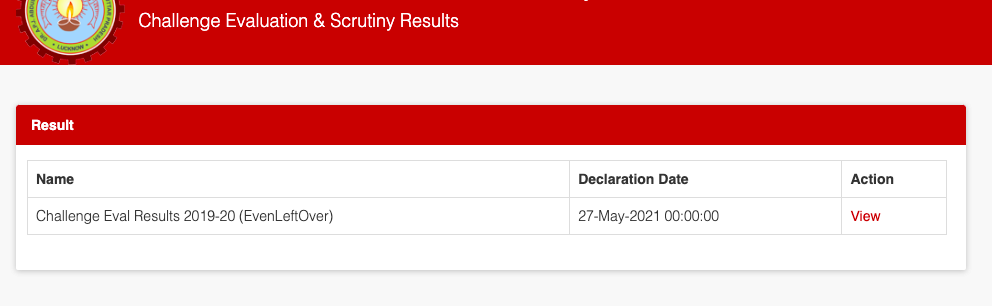 latest declared results of challenge evaluation & scrutiny exam