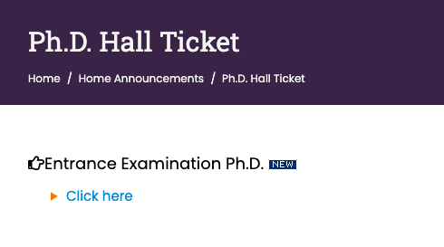 baou hall ticket download link for phd entrance exam 2021