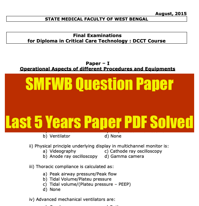 smfwbee previous year question paper download in PDF format from www.smfwbee.in
