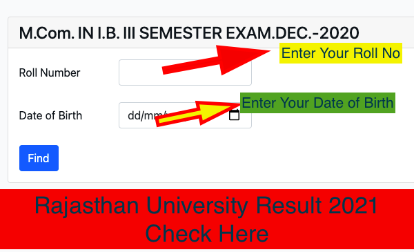 Rajasthan University Result 2021 Check Here