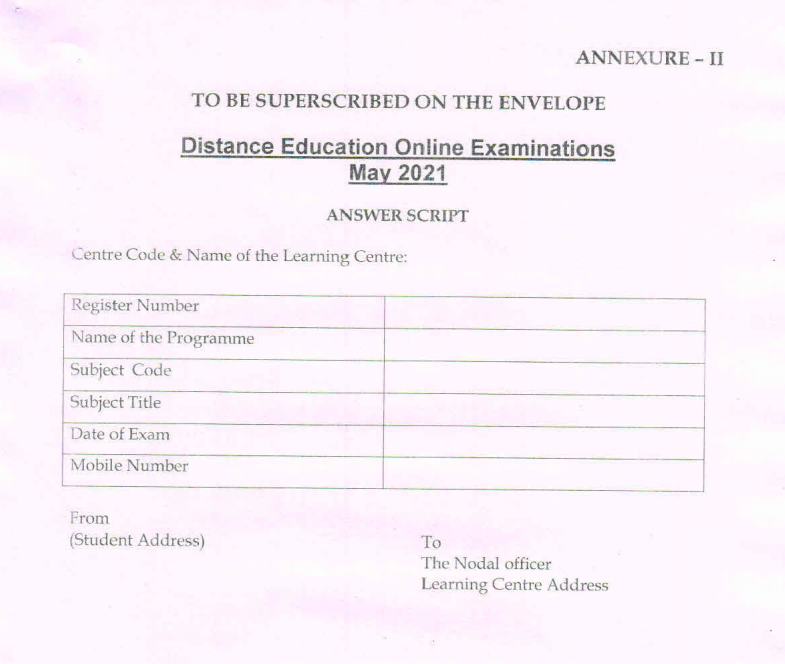 answer script to be superscribed on envelope by alagappa university students 2021 may exam