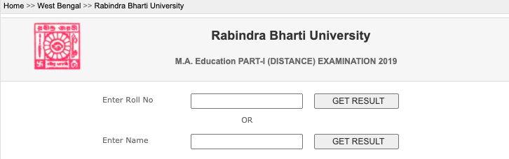 rbudde.in result checking link for part 1 2019 exam ma distance education semester exam