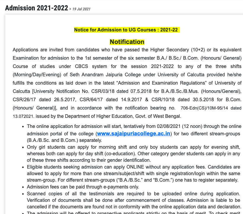 jaipuria college ug 2021 admission notice released. Admission form fill up will start from 2nd august 2021