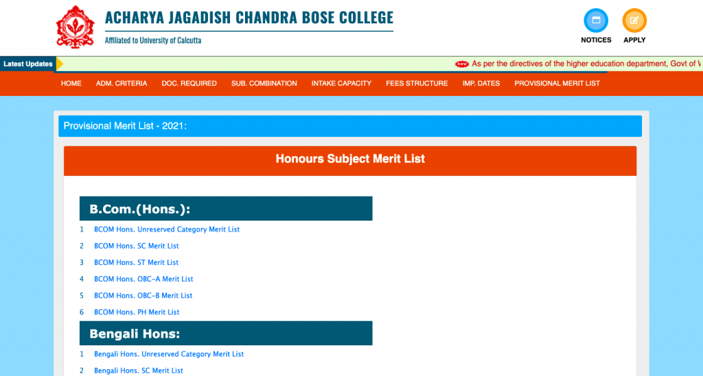 ajb bose college provisional merit list download notice 2021 at official homepage