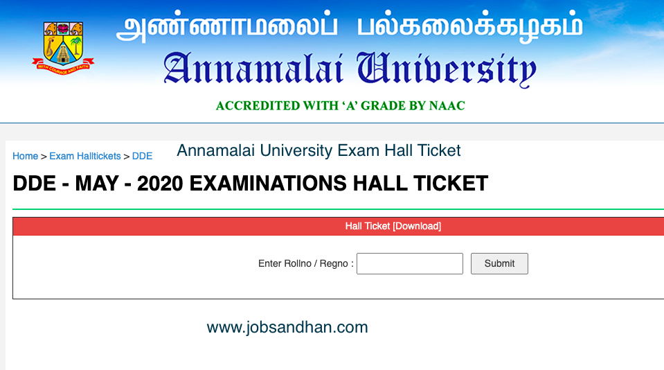 Annamalai University Hall Ticket 2021 (OUT) 1st 2nd 3rd Year Semester
