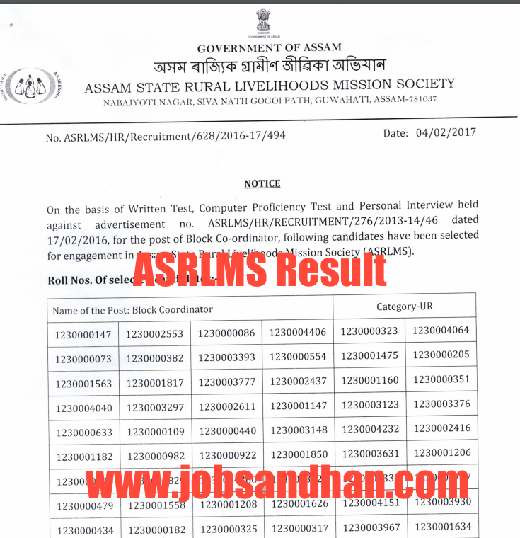 ASRLMS Result 2020 Cut Off Marks, MIS Assistant, Project Manager, Block Co-ordinator