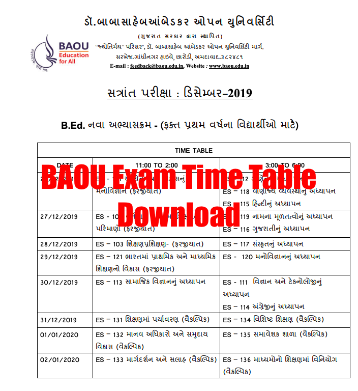 BAOU Exam Time Table 2021 BA, BSc, BCom, B.Ed 1st, 2nd, 3rd Year