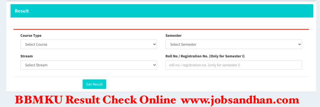 bbmku result 2021 for ug pg semester exam 1st 2nd 3rd 4th 5th 6th