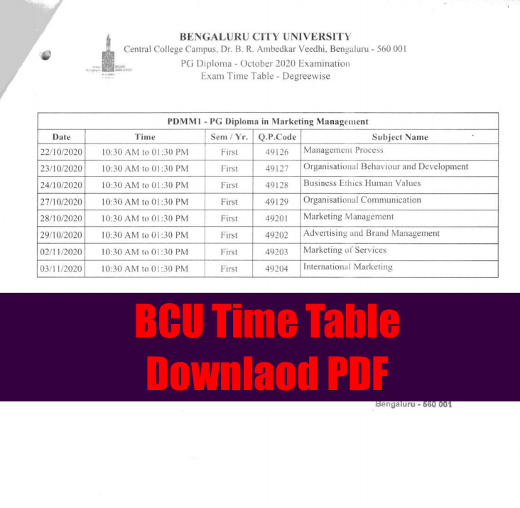BCU Time Table 2021 BA BSc BCom - UG / PG Semester Exams