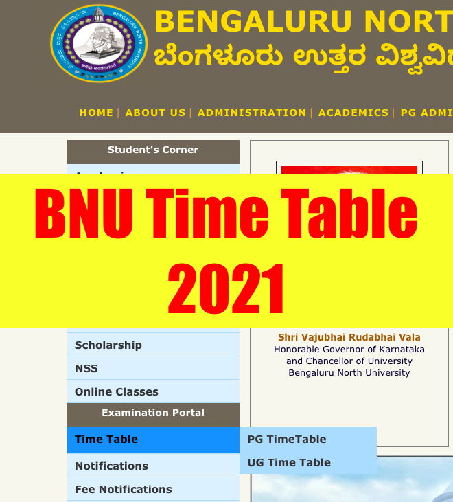 Bangalore North University Time Table 2021 bnu.ac.in Semester UG PG