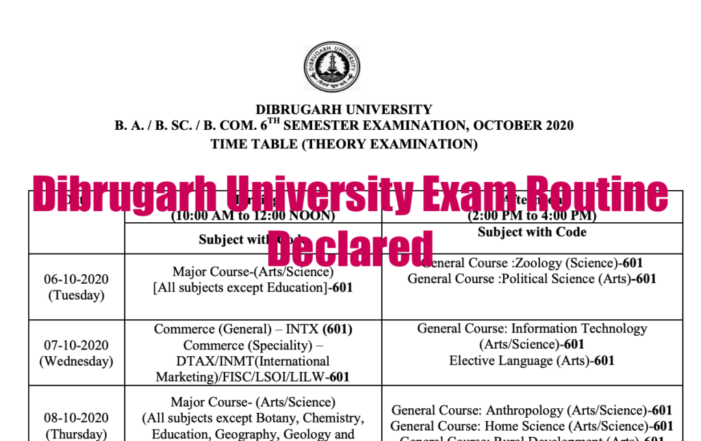 Dibrugarh University Exam Routine 2021 6th Semester Exam Dates Announced