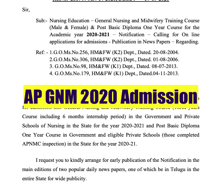 AP GNM Admission 2021 Nursing Application Form, Eligibility Criteria