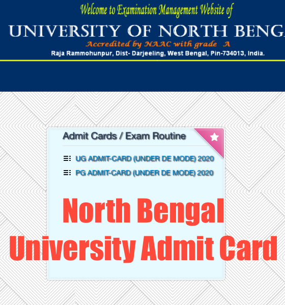 downloading screen of north bengal university admit card 2021 for ug pg
