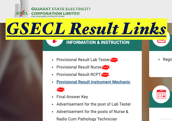 gsecl result links check for lab tester, staff nurse