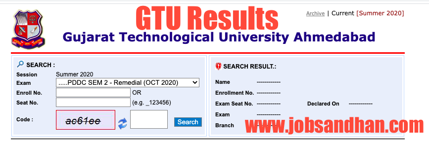 GTU Result 2021 (OUT) Gujarat Technological University Semester Results