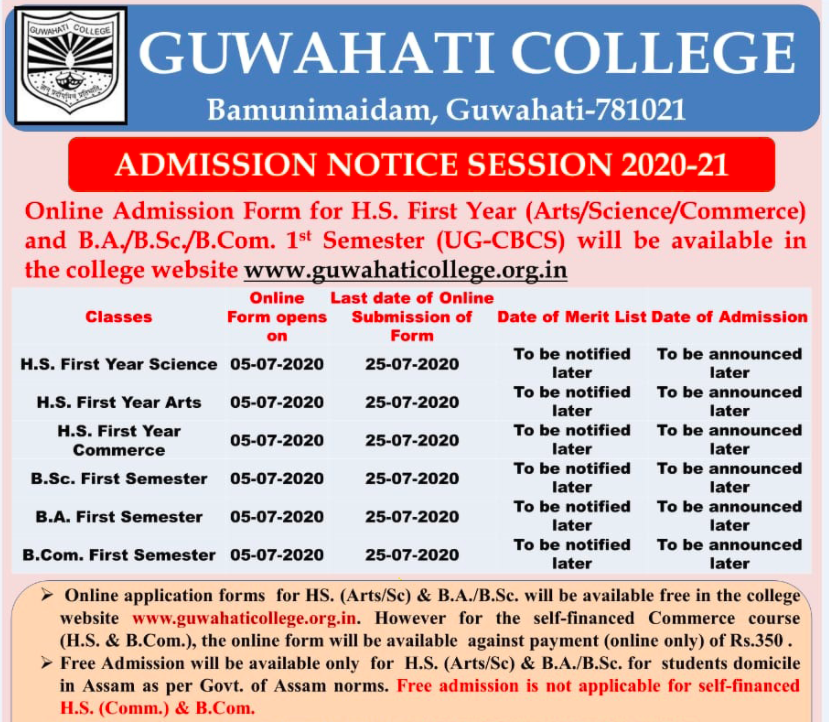 Guwahati College Merit List 2021 Admission BA BSc BCom 1st 2nd List Download