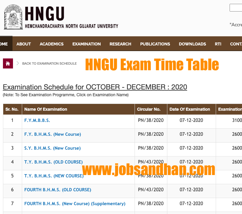 hngu exam time table 2020 download ug pg sem ba bsc bcom