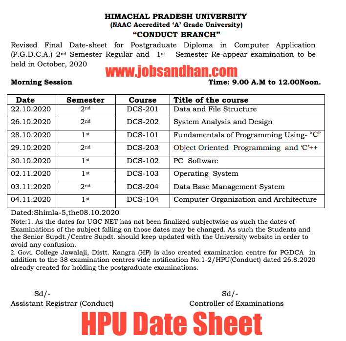 HPU Date Sheet 2021 (OUT) 1st, 2nd, 3rd Year Semester Exams