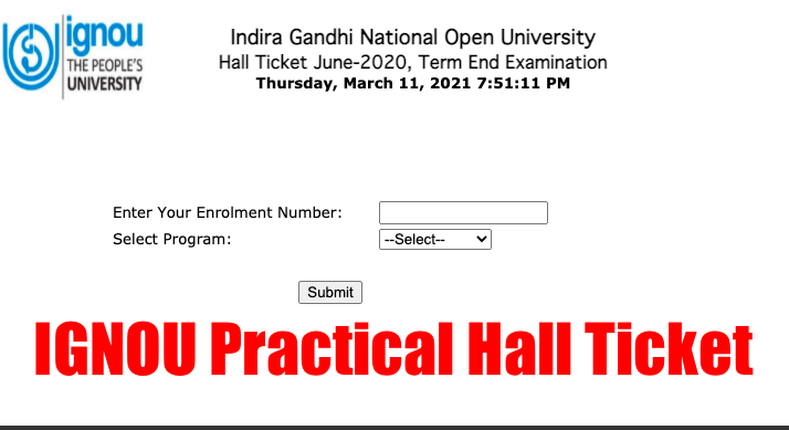 IGNOU Practical Hall Ticket 2021 Admit Card Download B.Sc, BCA {out}