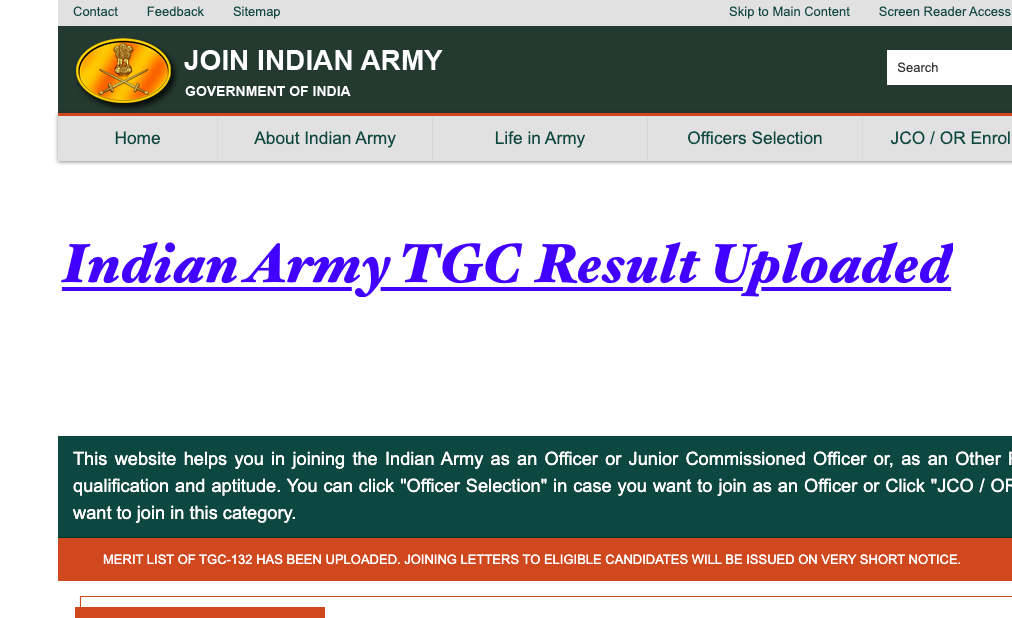 indian army tgc 132 result notice check @ joinindiannavy.nic.in