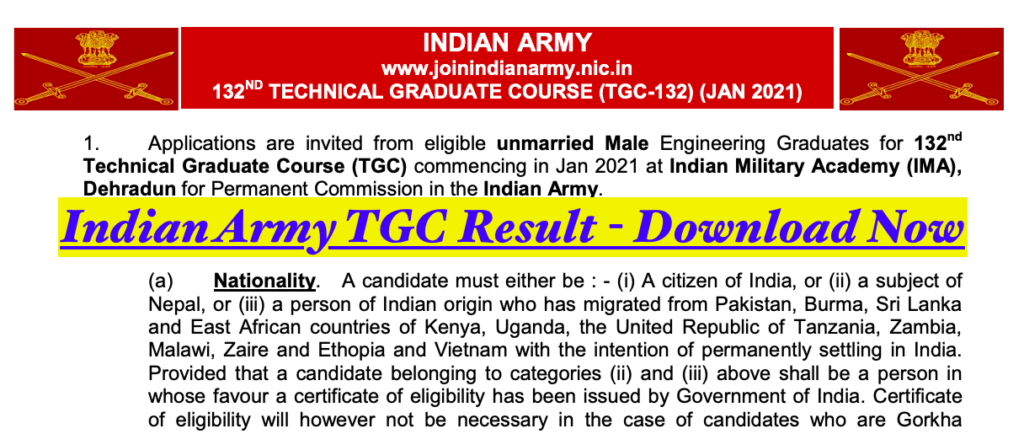 indian army tgc merit list download 133 results check online joinindianarmy.nic.in 2021