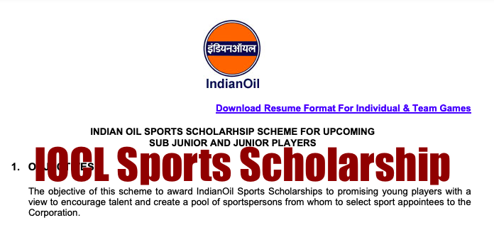 Indian Oil Sports Scholarship 2021 Application Form, Result