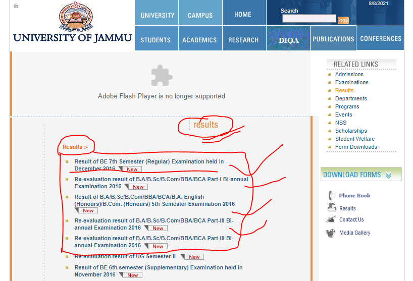 Jammu University Result 2021 (OUT) 1st 2nd 3rd 4th 5th 6th Semester, How to check Online examination result check of Jammu University 2021,