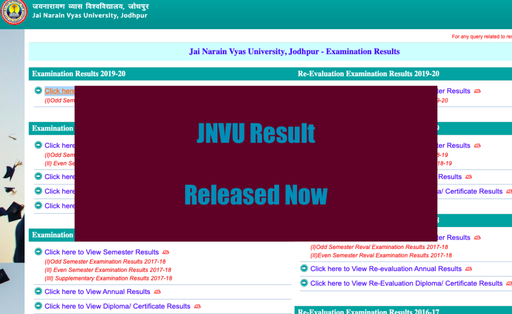 JNVU Result 2021 (OUT) jnvu.edu.in Jodhpur BA BSc BCom Year Exam Result