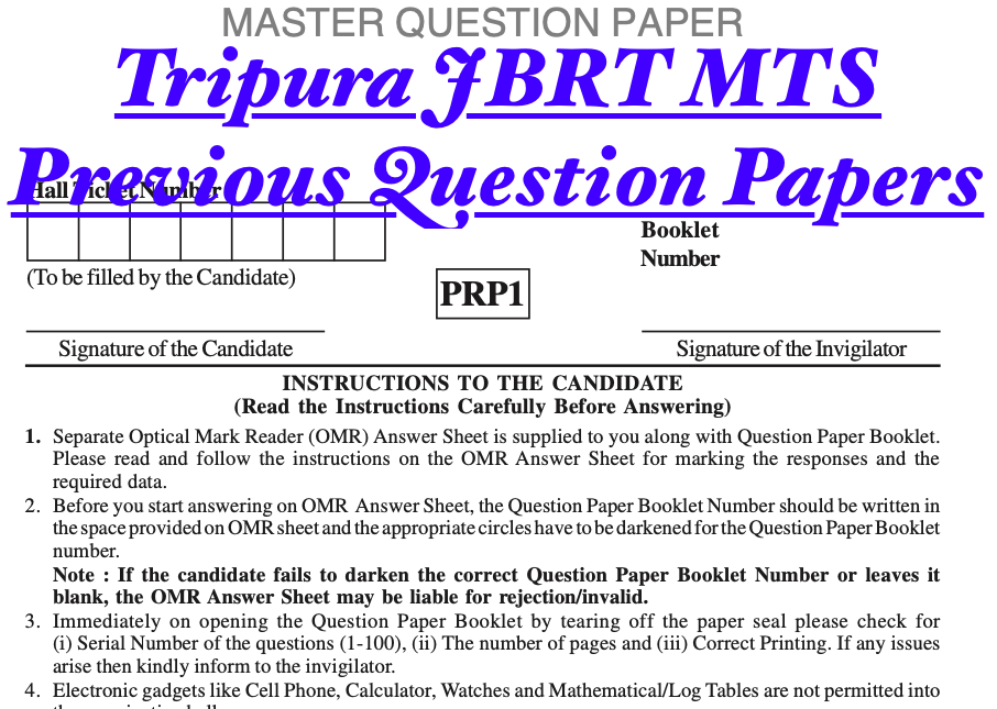 Tripura MTS Previous Year Question Paper {Old Papers PDF} Download