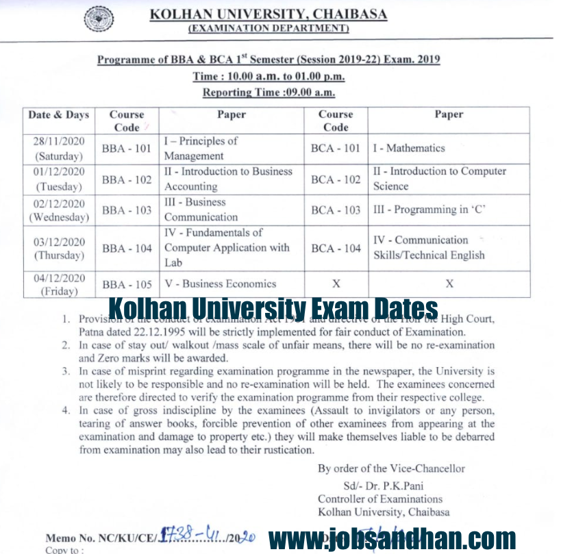 Kolhan University Exam Date 2021 (OUT) 1st, 2nd, 3rd Semester Time Table