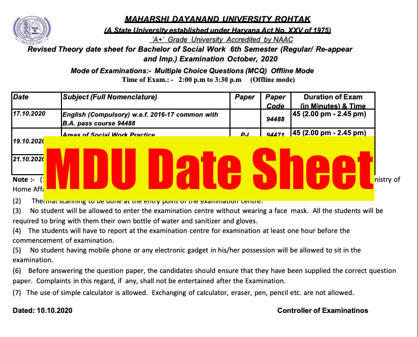 MDU Date Sheet 2021 (OUT) Exam Time Table 1st 2nd 3rd Year Semester UG PG