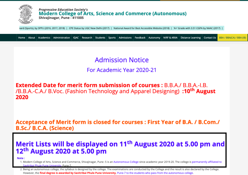 Modern College Merit List 2021 Pune Cut Off fyba fybcom fybsc