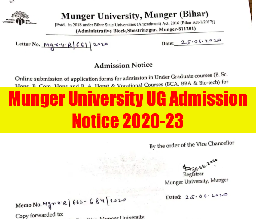 Munger University Merit List 2021 UG Admission 1st Selection List