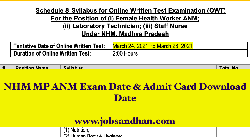 MP NHM ANM Admit Card 2021 Exam Date {Announced} - Download Now