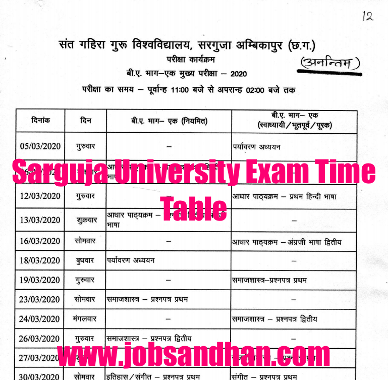Sarguja University Time Table 2021 BA, BSc, BCom 1st 2nd 3rd Year