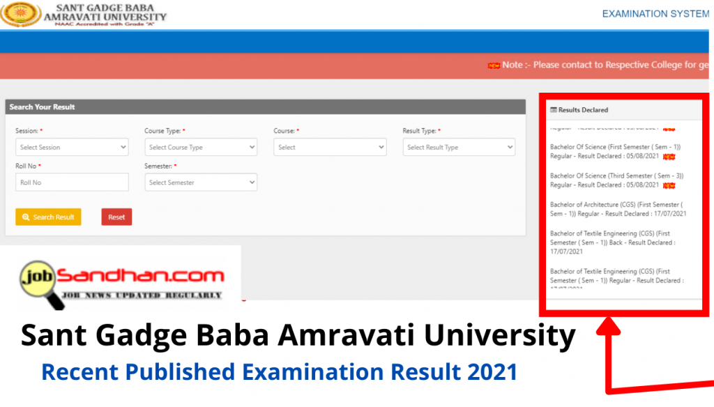 SGBAU Results 2021 1st 2nd 3rd 4th 5th 6th Semester BA BSc, How to check online Sent Gadge Baba Amravati University Examinations Results 2021,