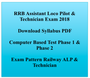 rrb alp technician syllabus 2018 download pdf assistant loco pilot examination pattern selection process computer based test cbt phase 1 2