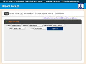 birpara college merit list 2019 check online ba bsc science arts link admission online apply link birparacollege.ac.in
