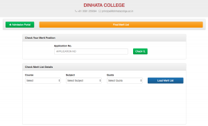 Dinhata College Merit List 2021 Final Admission Counselling List
