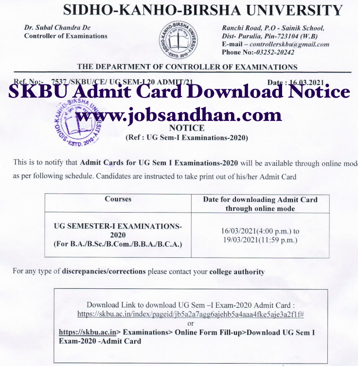 SKBU Admit Card 2021 UG PG Semester Exam Download