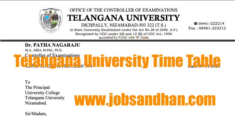 Telangana University Time Table 2021 Degree Semester, PG Exam Date
