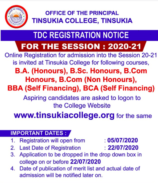 tinsukia college.org merit list download admission list notice out 31st july