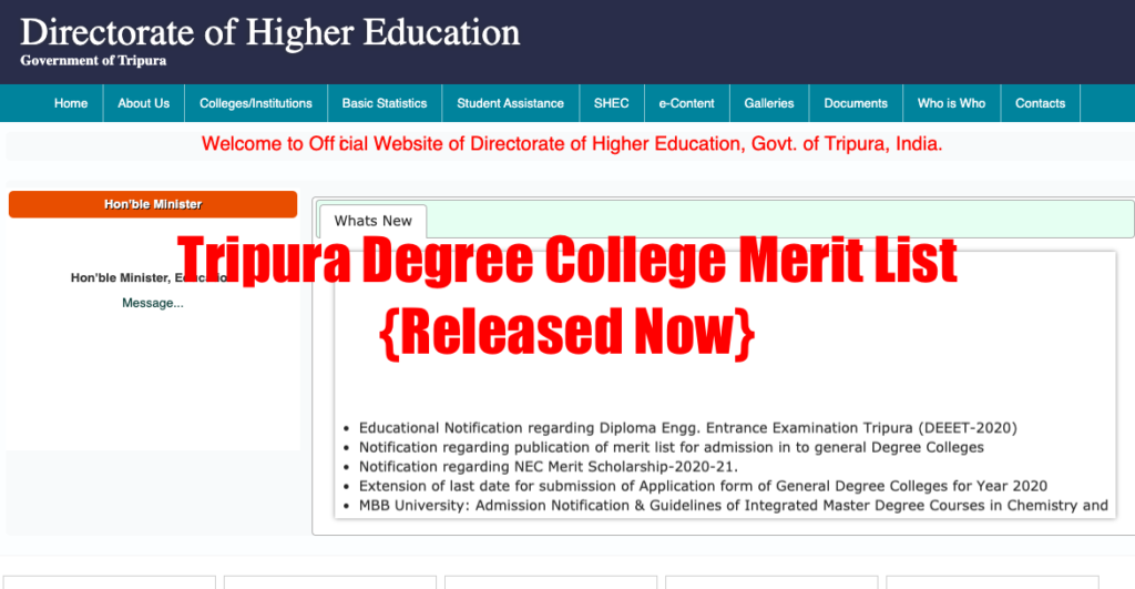 Tripura Degree College Merit List 2021 1st Admission List {Out} DHE Tripura