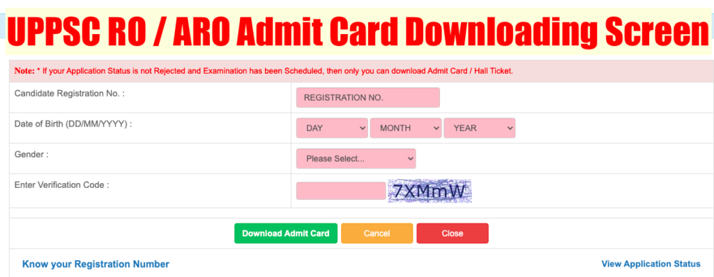 uppsc ro aro admit card downloading step by step method and screen