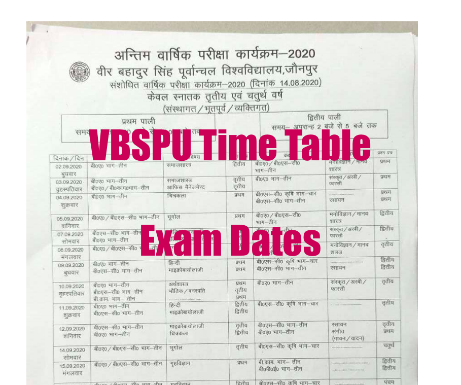 VBSPU Time Table 2021 for ug pg 2nd 3rd year semester exam dates