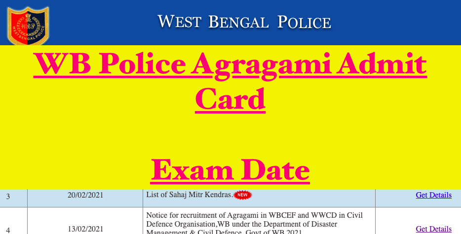 wb police agragami admit card download - exam date @ wbpolice.gov.in
